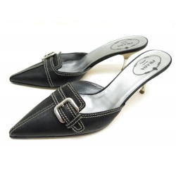 192477 CHAUSSURES PRADA CAPRA ANTIC BUC MULES A TALON 36.5 IT 37.5 FR EN CUIR NOIR 495€