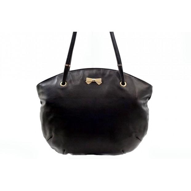 SAC A MAIN NINA RICCI NOEUD EN CUIR NOIR BLACK LEATHER HAND BAG 1000€