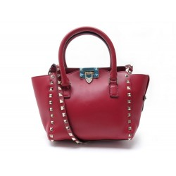 NEUF SAC A MAIN VALENTINO ROCKSTUD PM BANDOULIERE CUIR ROUGE RED HANDBAG 1680€
