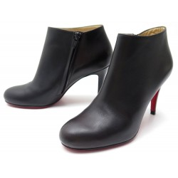 LOW BOOTS CHRISTIAN LOUBOUTIN CUIR MARRON