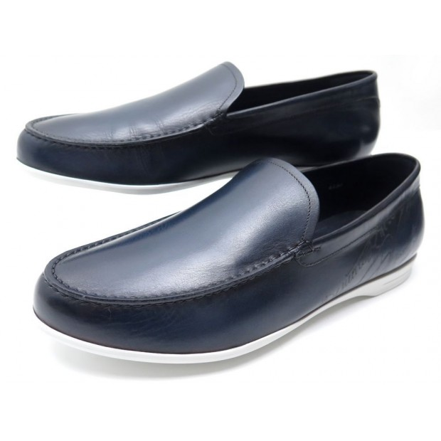 NEUF CHAUSSURES BERLUTI BARI S4430-001 MOCASSINS 8 42 CUIR SCRITTO LOAFERS 1180€