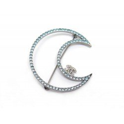 BROCHE CHANEL LUNE EN METAL ARGENTE