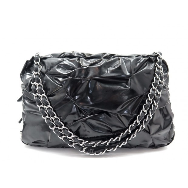 SAC A MAIN CHANEL CABAS 28 CM EN VINYL NOIR CHAINES BLACK HAND BAG DUSTBAG 2500€