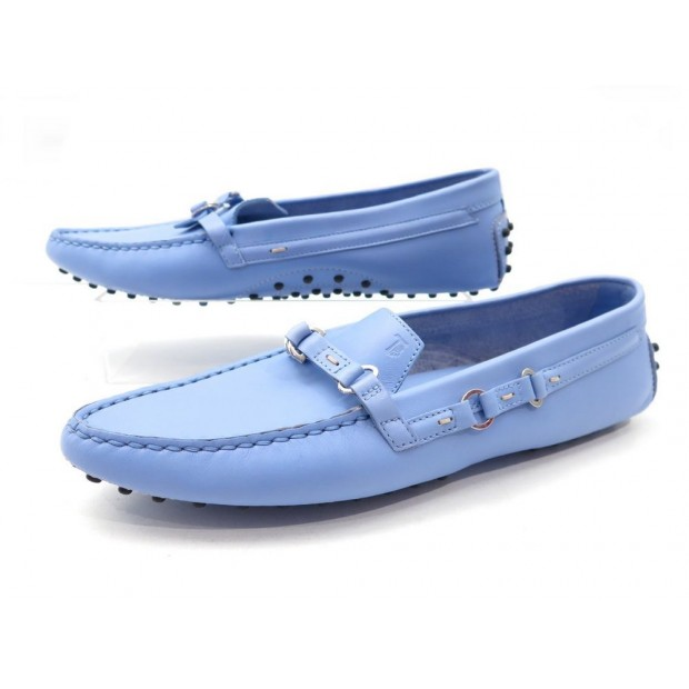 NEUF CHAUSSURES MOCASSIN TOD'S GOMINO 40 EN CUIR BLEU LEATHER LOAFER SHOES 350€