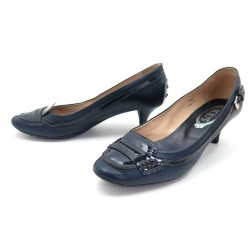 CHAUSSURES TOD'S ESCARPINS 39.5 IT 40 FR CUIR BLEU MARINE BLUE COURT SHOES 630€