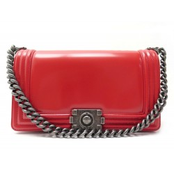 NEUF SAC A MAIN CHANEL BOY A67086 BANDOULIERE CUIR ROUGE RED HAND BAG NEW 4480€