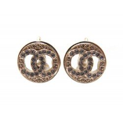 NEUF BOUCLES D'OREILLE CHANEL LOGO CC PUCES STRASS