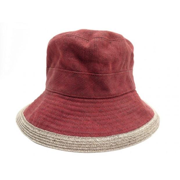 CHAPEAU HERMES BOB TAILLE 57 EN LIN ROUGE & BEIGE RED LINEN HAT 290€