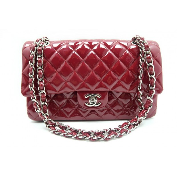 SAC A MAIN CHANEL 2.55 TIMELESS 26 CM EN CUIR VERNI MATELASSE ROUGE BAG 4260€