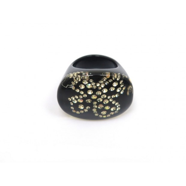 BAGUE CHANEL TREFLE TAILLE 53 EN RESINE NOIR & STRASS BLACK RING 420€