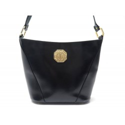 VINTAGE SAC A MAIN YVES SAINT LAURENT BANDOULIERE CUIR NOIR BLACK HAND BAG 970€