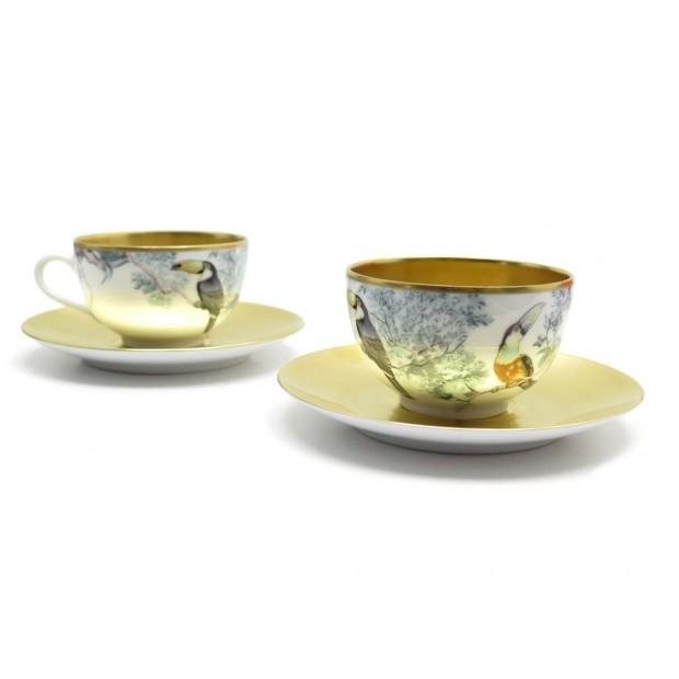 SET 2 TASSES THE SOUCOUPES HERMES CARNETS D'EQUATEUR TOUCANS TEA CUP GOLD 1120€