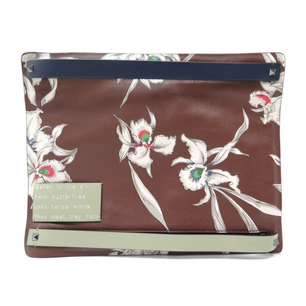 NEUF SAC POCHETTE VALENTINO HAWAIIAN EN CUIR MARRON NEW CLUTCH PURSE 1180€