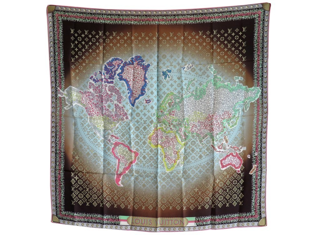 Foulard Louis Vuitton 402470 World Map Monogram