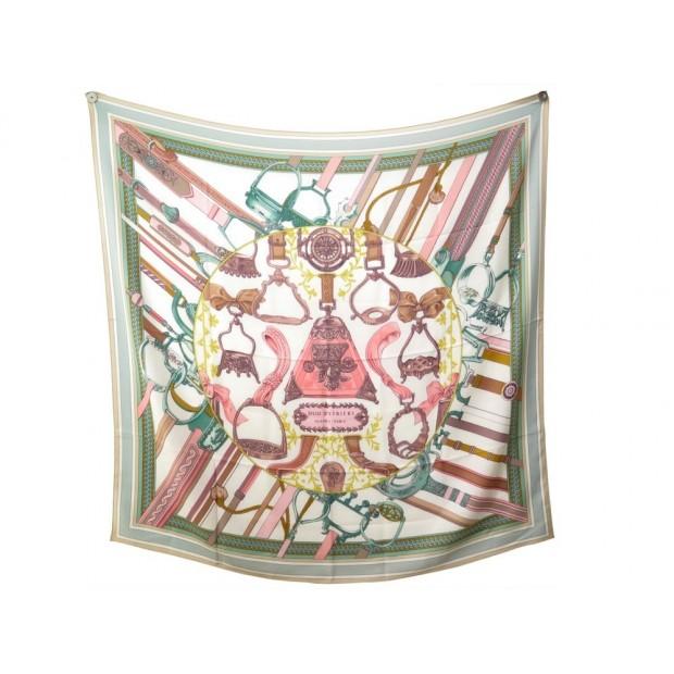 CHALE HERMES DUO D'ETRIERS 140 CM CACHEMIRE & SOIE VERT ROSE FOULARD SHAWL 945€