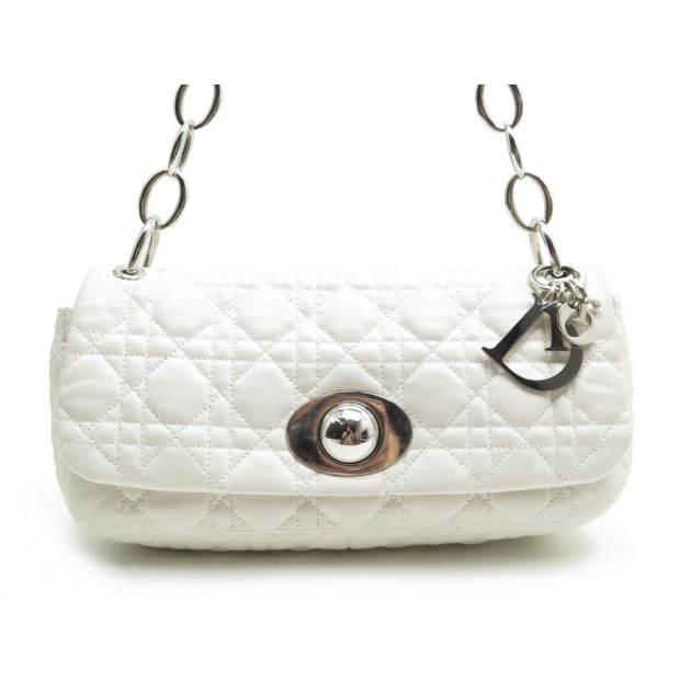 SAC A MAIN CHRISTIAN DIOR RENDEZ VOUS EN CUIR BLANC WHITE LEATHER HAND BAG 1550€