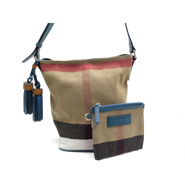 NEUF SAC A MAIN BURBERRY BRIT MINI ASHBY BANDOULIERE TOILE TARTAN CUIR BAG 630€