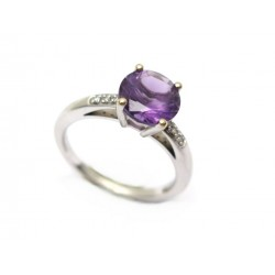 BAGUE MAUBOUSSIN UN GRAND MOT DE TENDRESSE T52 OR BLANC DIAMANTS AMETHYSTE 1495€