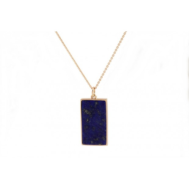 NEUF COLLIER GINETTE NY EVER LAPIS LAZULI BLEU OR JAUNE 18K GOLD NECKLACE 440€
