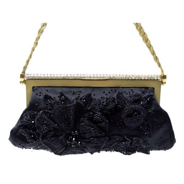 VINTAGE SAC A MAIN VALENTINO POCHETTE EN SATIN NOIR PERLES & STRASS CLUTCH BAG