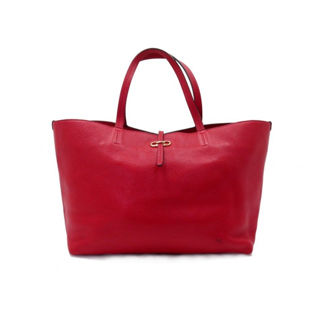 SAC A MAIN SALVATORE FERRAGAMO CABAS CUIR GRAINE ROUGE RED LEATHER HAND BAG 750€