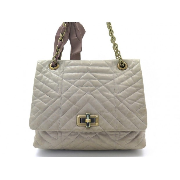 SAC A MAIN LANVIN HAPPY 31303 BANDOULIERE CUIR TAUPE LEATHER SHOULDER BAG 2260€