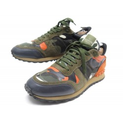 CHAUSSURES VALENTINO ROCKRUNNER NY2S0723 43.5 BASKETS TOILE CAMOUFLAGE ARMY 550€