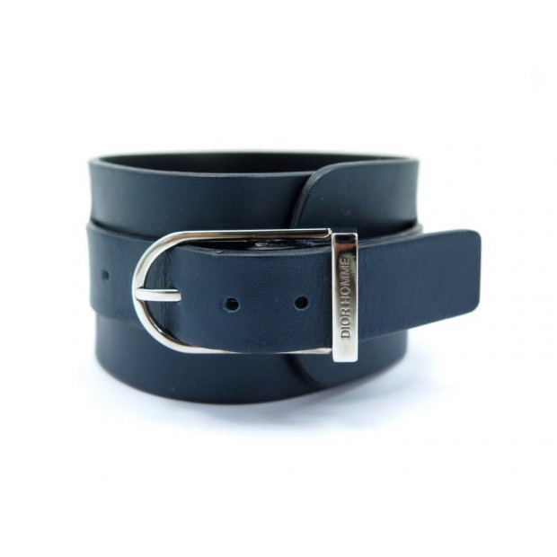 NEUF BRACELET DIOR HOMME DE FORCE MEDIUM 18 20 CM CUIR BLEU MARINE LEATHER 290€