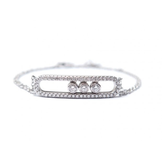 BRACELET MESSIKA MOVE PAVE DOUBLE CHAINE OR BLANC 18K DIAMANTS 0.65CT GOLD 3790€