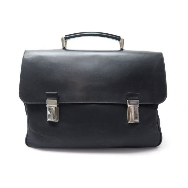 acheter en ligne 18907 b6bee sac cartable prada sacoche en toile cuir noir canvas