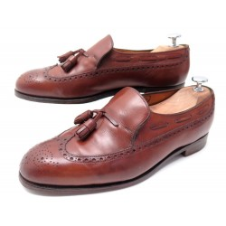 CHAUSSURES JOHN LOBB MOCASSINS A PAMPILLES 7E 41 CUIR MARRON LEATHER SHOES 1160€