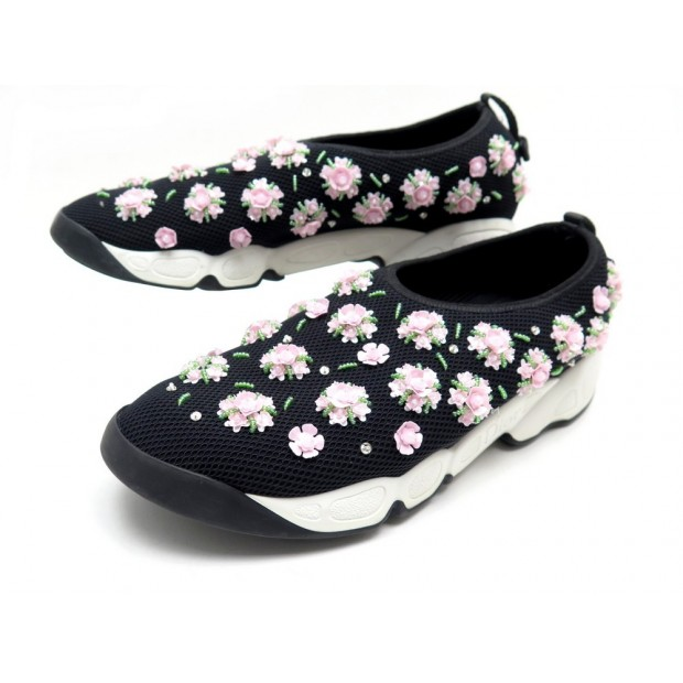 CHAUSSURES DIOR FUSION FLOWER KCK067NEF 40 BASKETS TOILE NOIR SNEAKERS SHOE 890€