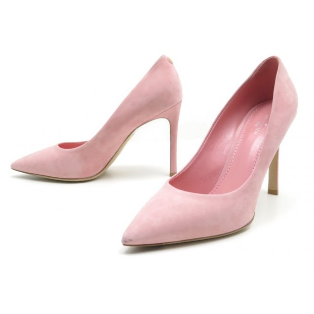 NEUF CHAUSSURES LOUIS VUITTON ESCARPINS RENDEZ VOUS DAIM ROSE PUMP SHOES 660€