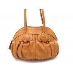 SAC A MAIN LANCEL GOUSSET 38CM EN CUIR ORANGE LEATHER HAND BAG PURSE 580€