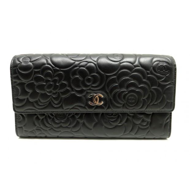portefeuille chanel camelia en cuir noir porte 064a5642540