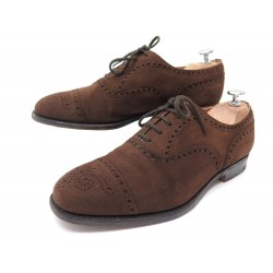 CHAUSSURES CHURCH'S DIPLOMAT 7F 41 RICHELIEU BOUT FLEURI DAIM MARRON SHOES 620€