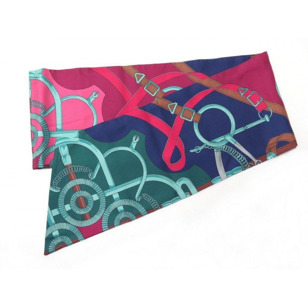 NEUF FOULARD HERMES EPERON D OR H. D ORIGNY MAXI TWILLY EN SOIE MULTICOLORE 295€