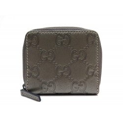 NEUF PORTEFEUILLE GUCCI PORTE MONNAIE SIGNATURE 115255 CUIR TAUPE WALLET 230€