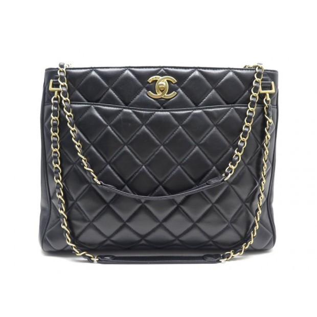 SAC A MAIN CHANEL SHOPPING CABAS FERMOIR CC CUIR MATELASSE NOIR HAND BAG 3500€