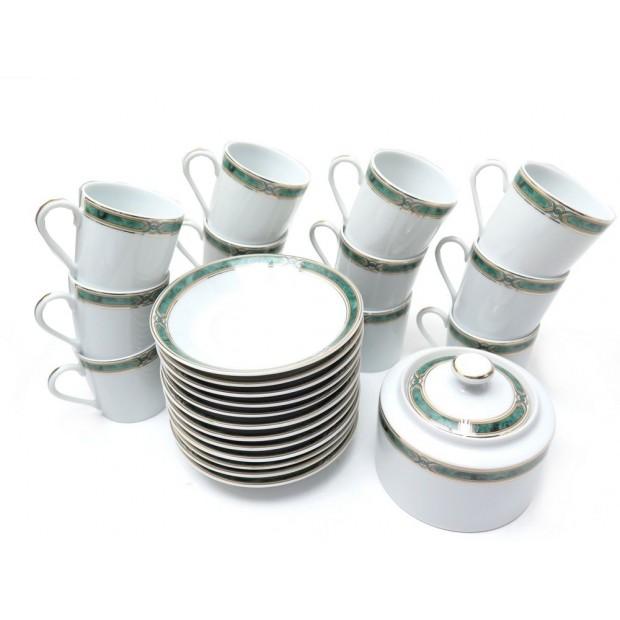 NEUF SERVICE CAFE HAVILAND BOREAL VERT 12 TASSES SOUCOUPES + SUCRIER PORCELAINE