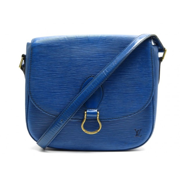SAC A MAIN LOUIS VUITTON SAINT CLOUD GM BANDOULIERE CUIR EPI BLEU HAND BAG 1390€