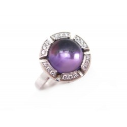 BAGUE CHAUMET CLASS ONE CROISIERE T49 DIAMANTS 0.3CT AMETHYSTE OR 18K RING 2950€