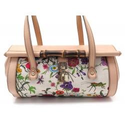 SAC A MAIN GUCCI BAMBOO BULLET BAG 111713 EN TOILE ET CUIR BEIGE HAND BAG 3810€