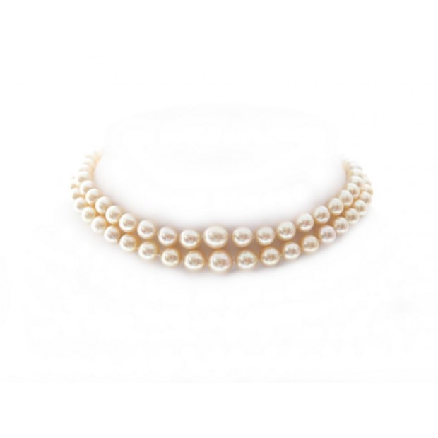 COLLIER DE PERLES RAS DU COU DOUBLE RANG OR 18K & DIAMANTS 39CM PEARLS NECKLACE