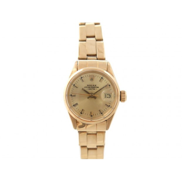 VINTAGE MONTRE ROLEX 6516 OYSTER PERPETUAL DATE OR 18K AUTOMATIQUE 24 MM WATCH