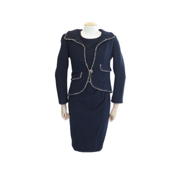 NEUF TAILLEUR CHANEL VESTE + ROBE 34 XS EN TWEED BLEU MARINE DRESS JACKET 6500€