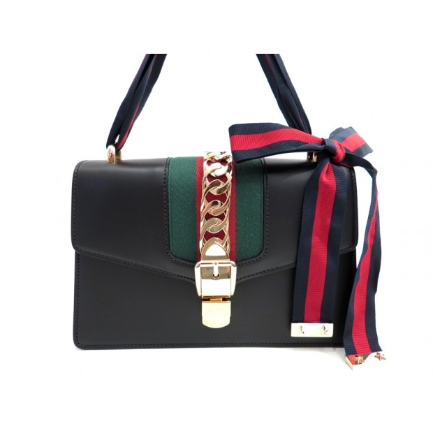 NEUF SAC A MAIN GUCCI SYLVIE 421882 CABAS EN CUIR TOILE WEB HAND BAG PURSE 1980€
