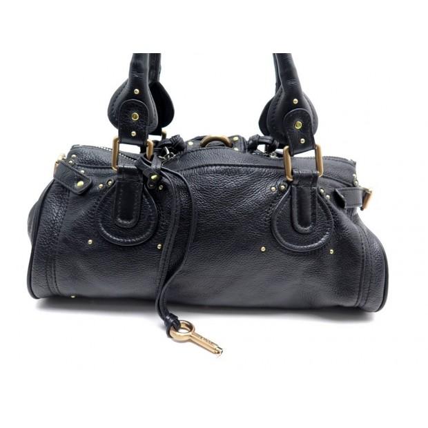 SAC A MAIN CHLOE PADDINGTON MM CUIR EN GRAINE NOIR BLACK LEATHER HAND BAG 1295€