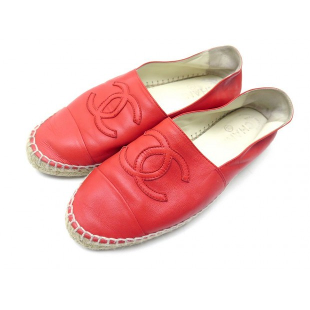 CHAUSSURES CHANEL G29762 ESPADRILLES 37 EN CUIR ROUGE RED LEATHER SHOES 690€