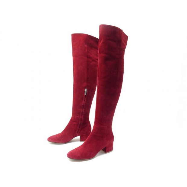 CHAUSSURES GIANVITO ROSSI TEXAS 80851 BOTTES A TALONS 37 DAIM ROUGE BOOTS 1215€